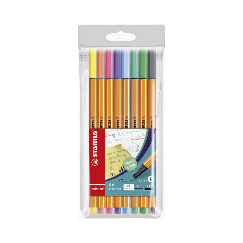 Fineliner STABILO point 88 8stuks pastel assorti